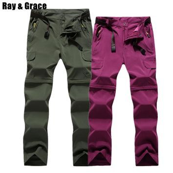 RAY GRACE Detachable Pants Shorts Women Men Summer Outdoor Hiking Pants Waterproof Quick Dry Cargo Pants Climbing Trekking