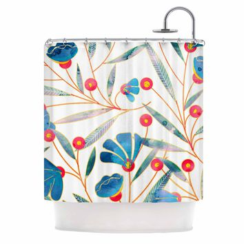 "83 Oranges ""Bluebella"" Blue White Nature Floral Illustration Watercolor Shower Curtain"