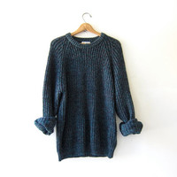 vintage speckled blue & purple sweater. oversized sweater. chunky wool pullover.