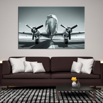 36968 - Front View of Modern Aircraft Wall Art, Airplane Canvas, Extra Large Wall Art, Aviation Wall Art, Black and White Airplane Canvas, High Resolution Canvas, Office Decor