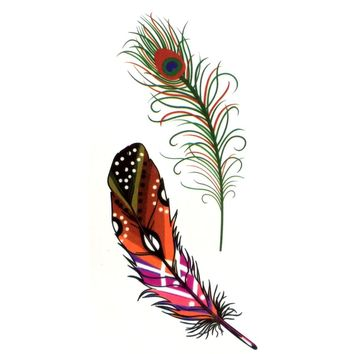 Peacock feather Waterproof Temporary Tattoos men Fake Arm Tattoo sleeve body art flash tattoos tatuagem tatoo sleeve