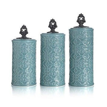 Canister Set Teal Turquoise Blue Earthenware 3 Pce Kitchen Counter Jars Storage