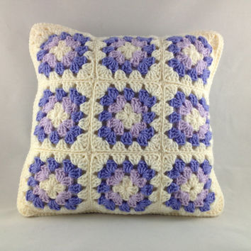 Granny Square Pillow Purples/Blues, Crochet Pillow, Crochet Cushion, Granny Squares, Purple, Blue, Cream, 14x14, Home Decor