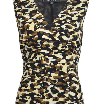 Kasper Women's Sleeveless Cheetah Print Blouse (12P, Brown Multi)