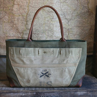 WWII era Canvas and Leather Carryall by forestbound on Etsy
