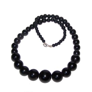 Black Necklace - Long Black Graduated Bead Strand Necklace - 20mm