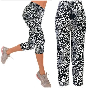 Capri Leggings High Waisted  black white Print Yoga Pants Lady's Finess Workout Casual Pants Gym Wear = 1933312196