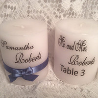 Set of 10 Place card holder personalized wedding favor you choose ribbon color