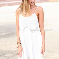 YOU BELONG TO ME DRESS , DRESSES, TOPS, BOTTOMS, JACKETS & JUMPERS, ACCESSORIES, 50% OFF SALE, PRE ORDER, NEW ARRIVALS, PLAYSUIT, COLOUR, GIFT VOUCHER,,White,LACE,SHIFT,SLEEVELESS,MINI Australia, Queensland, Brisbane