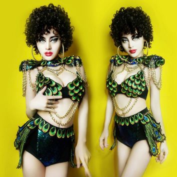 Female Pop Singer Costume New Stylish Peacock Design Sequin Nightclub DJ Sexy Hiphop costumes ds  Clothing bar
