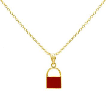 Mini Enamel Lock Necklace