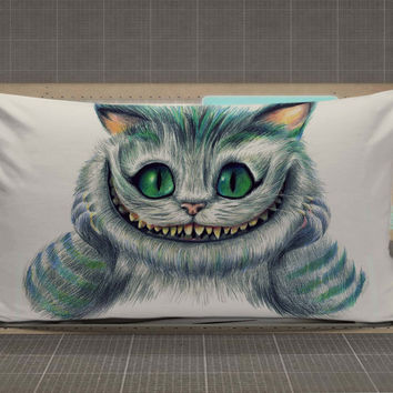 Cat Cheshire Alice In Wonderland rectangle pillow case, pillow cover, cute and awesome rectangle pillow covers