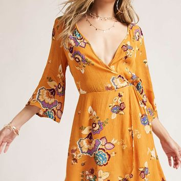 I The Wild Floral Surplice Dress