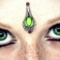 Dryad Bindi, fairy, fantasy jewelry, tribal fusion, wicca, pagan, elven, bellydance costume, gypsy, Halloween, goddess, facial jewelry, fae