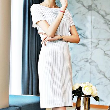 Sexy Stripe Dresses Sexy Stripe Dresses New Style Professional Clothes with Slimming and Recepting Waist Temperament White
