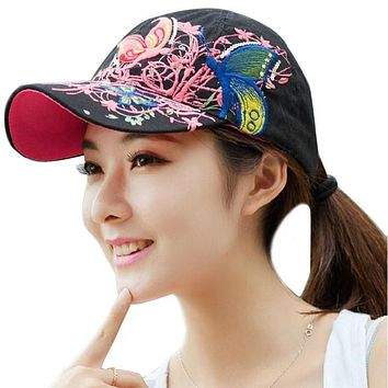 Summer Women Lady Flowers Butterfly Embroidered Hat Adjustable Baseball Cap