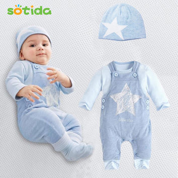 Baby Boy Clothes (Hat + T-shirt+overalls)3pcs