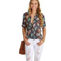 Gray Abstract Floral Top