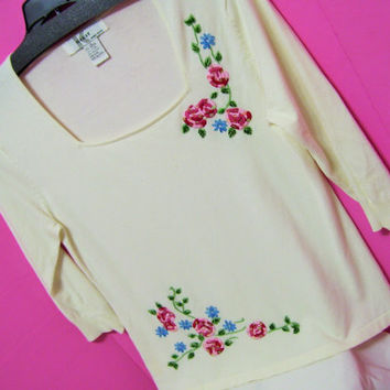 Ivory Sweater, Fine Gauge Knit, Embroidered, Red Roses, Sequins, Square Neck, Size Large, K>I>K>I>T