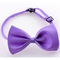 Purple Adjustable Bow Tie Dog Cat Pet Collar