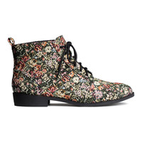 H&M - Patterned Fabric Boots - Black/Patterned - Ladies