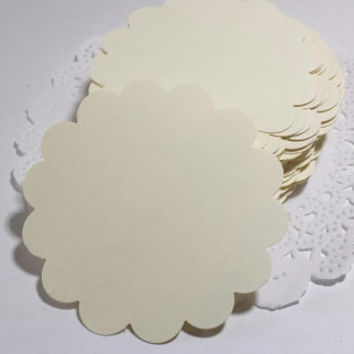 50 Ivory Scallop Circles, Scallop Circle Punch, Ivory Tag, DIY Blank Tag