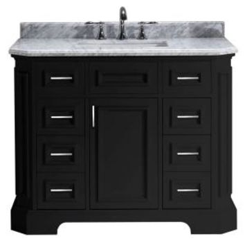 Pegasus Bristol 42 in. Vanity in Black with Marble Vanity Top in Carrara White PEBRISTOL42B at The Home Depot - Mobile