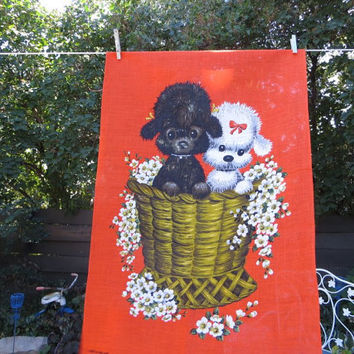 Vintage Lamont Poodle Pups Towel Dish Towel Linen Towel made in Ireland Wall Tapestry