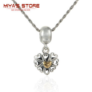 silver 925  vintage hollow heart charms with 14k gold heart bracelets  &  bangles pendant necklace beads  &  making lw491