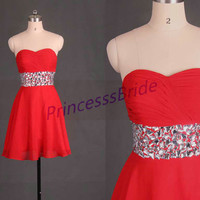 2014 short red chiffon prom dress with rhinestones,cheap sweetheart homecoming gowns,chic dress for hpliday party hot.