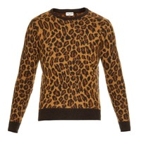 Leopard-print mohair-blend sweater | Saint Laurent | MATCHESFASHION.COM US