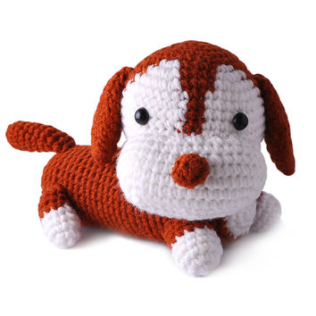 Brown-White Dogs Handmade Amigurumi Stuffed Toy Knit Crochet Doll VAC