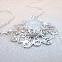 Sterling silver necklace - Mandala filigree pendant, sterling silver Mandala necklace, rainbow moonstone necklace