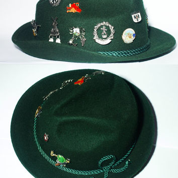 Vintage Tyrolean Alpine German Austrian Swiss Bavarian Hiking Green Hat With 11 Rare Volksmarching Pins. X-Large