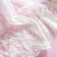 1yard Embroidery Super Wide White Mesh Lace Fabric Trim Sewing Supplies for Wedding Veil DressMaking