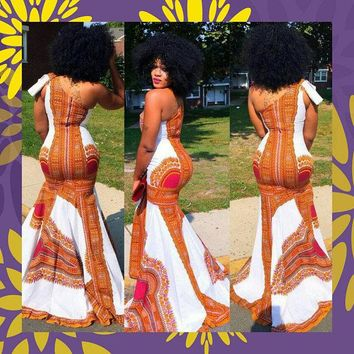One Shoulder Dashiki Prom Dress