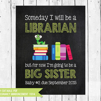 Librarian Pregnancy announcement // Big Sister Announcement // When I grow up // Librarian // pregnancy // PDF you edit with ADOBE READER