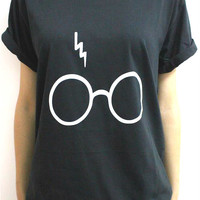 Women T shirt Harry Potter Lightning Glasses Letters Print Cotton Casual Funny Shirt For Lady Black White Top Tee Hipster T-59