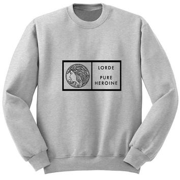 lorde pure heroine logo sweater Gray Sweatshirt Crewneck Men or Women for Unisex Size with variant colour