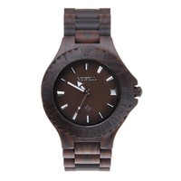 MEKU Men's Vintage Wooden Watches Natural Blackwood Wrist Watch with Day Calendar Black