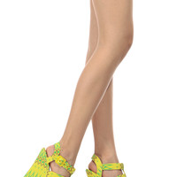 Yellow Tribal Print Strappy Platform Wedges