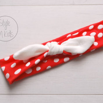 RED Dot Knot Headband with IVORY  Bow Headband Knot Toddler Headband Head Wrap Baby Bow Headband Newborn Knot Headband