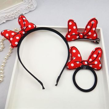 Korean Solid Color Dot Bow Ears Cloth Headband Hair Clip Elastic hair Bands 3 Sets Cute Girls Kids Fantastic Hair Accessories