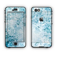 The Bright Light Blue Swirls with Butterflies Apple iPhone 6 LifeProof Nuud Case Skin Set
