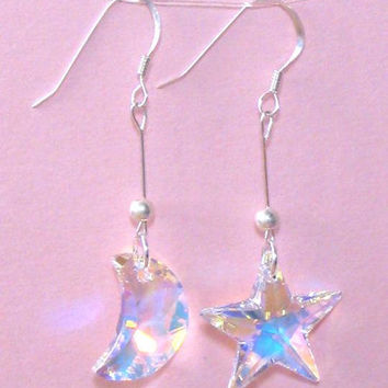 925 Sterling Silver Swarovski Moon Star Clear AB Crystal Dangle Earrings, wire jewelry