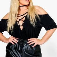 Plus Nina Open Shoulder Lace Up Detail Top | Boohoo