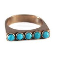 Turquoise and Silver Stack Ring