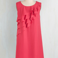 ModCloth Mid-length Sleeveless Shift Eliciting Smiles Dress