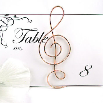 Wedding Table Number Holder, Treble Clef Table Number Stand, Wedding Card Holder, Musical Table Decor, Set of 6