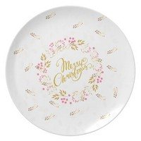 Merry Cristmas Wreath in Gold and Red Melamine Plate
